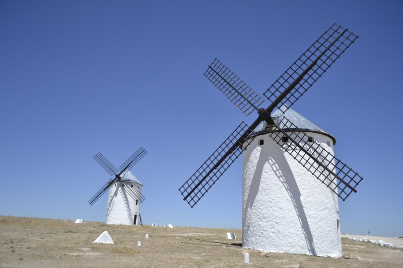 Don Quijote windmills on sunny day